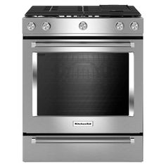 KitchenAid 5-Burner 6.5-cu ft Self-Cleaning Slide-In Convection Gas Range (Stainless Steel) (Common: 30-in; Actual 29.875-in)
