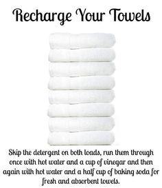 Pinner says: Over time, towels build up detergent and fabric softener, leaving them unable to absorb as much water and smelling funky. Recharge them by washing them once with hot water and one cup vinegar, then a second time with hot water and half cup baking soda. This strips the residue and leaves them fresh and able to absorb more water again. Works like a charm!