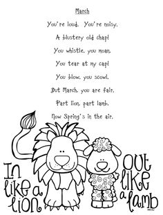 Lots of March Lion & Lamb Ideas! Spring Activities, Preschool Activities, Lion Lamb, Kindergarten Poems, Weather Kindergarten, Preschool Weather, Lamb Book, Spring Poem, Lamb Craft