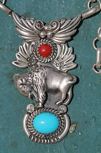 Vintage Southwestern 925 Sterling Silver Turquoise Coral Necklace Running Bear | eBay