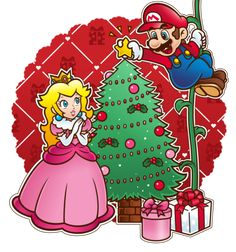 Finally, it's-a-done please hope you like bai Merry Christmas, Mareach forever!~Come and see, the Christmas tree! Super Mario Bros, Super Mario World, Super Mario Brothers, Peach Mario, Mario And Princess Peach, Mario Bros., Mario And Luigi, Metroid, Cute Christmas Wallpaper