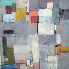 "Lay of the Land 3 by Mary Long, 37 x 37"" framed, encaustic, mixed media on panel | Karan Ruhlen Gallery Santa Fe"
