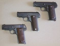 Spanish Eibar/Ruby Pistols.  One of the more successful early automatic pistol designs of the turn of the century was John Browning's Colt and FN 1903 (which were different guns, but used the same basic design). Spanish shops quickly began making their own copies of this very popular pistol, and one of them hit the proverbial jackpot. In 1914, the company of Gabilondo y Urresti built a better-than-average 1903 copy called the Ruby, chambered for .32ACP and with a 9-round magazine.