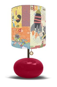 robots and rockets lamp - get the right fabric, and you could definitely DYI this lamp shade!