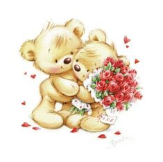 The bear gives a bouquet of roses.psd