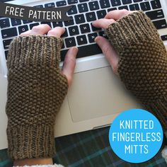 free knitting pattern for making fingerless mitts, easy pattern great for beginners