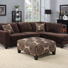 Porter Malibu Chocolate Brown Sectional Sofa with Ottoman (Without Ottoman), Beige, Porter International Designs (Foam) Brown Sectional Sofa, Brown Couch, Living Room Sectional, Living Room Furniture, Living Room Decor, Sectional Furniture, Living Pequeños, Decoration, Living Room Designs
