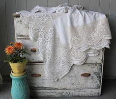 Beautiful Antique Homespun Natural Linen Hemp and Crochet Bed