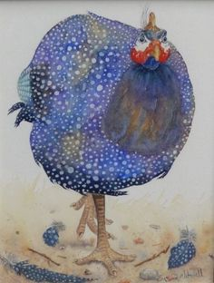 Susan Mitchell - Guinea Fowl, one of our lovely friends and an incredibly talented artist :) Watercolor Bird, Watercolor Animals, Watercolor Paintings, Watercolors, Chicken Painting, Chicken Art, Animal Original, Illustrations, Illustration Art