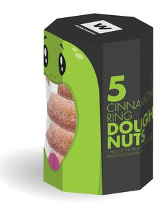 Love this packaging! Clever and humorous - and great choice of colours that make the donuts really stand out.