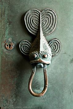 This door knocker is sticking its tongue out at me.