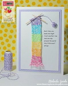 cute home made card with tiny knitting