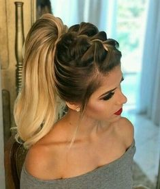 39 Eye-Catching Ways To Style Your Curly And Wavy Ponytails # Wavy Ponytail, Ponytail Hairstyles, Party Hairstyle, Braid Hair, Box Braid, Hairstyles Men, Curly Hair Styles, Natural Hair Styles, Pinterest Hair
