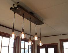 5 lámparas de colgantes de Edison lámpara rústica recuperada madera iluminación rústica bombillas de Edison