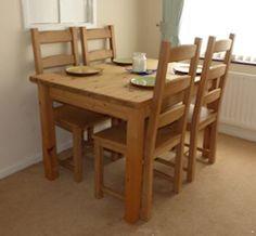 Hand made pine farmhouse table and chair.