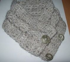 Simple, Quick Crocheted Cable Neck Warmer   Using the cable stitch you can make this Simple, Quick Crocheted Neck Warmer. Keep your neck warm when you head out for the day, while keeping your fashion sense. Have a button closure for your convenience.