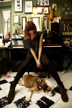 Lou Doillon at home in Paris, photographed by The Selby. Black and white tiles.
