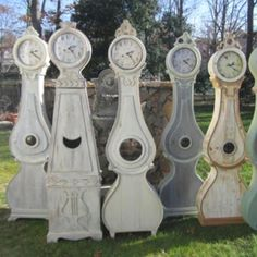These are reproductions but beautiful from moraclockworks.com.