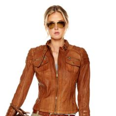 Michael Kors leather jacket - Something whiskey colored (of course).