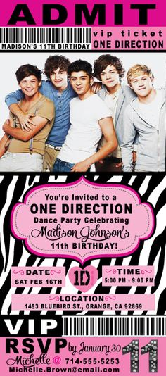 free : 1d one direction party invite - print it and fill in the, Printable invitations