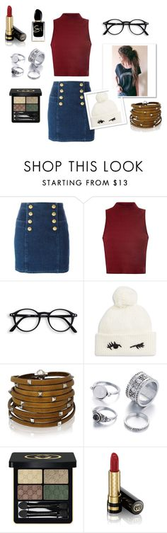 """""""Pom-Pom Library Date"""" by lorrettaflange ❤ liked on Polyvore featuring Balmain, Glamorous, Kate Spade, Sif Jakobs Jewellery, Gucci and Giorgio Armani"""