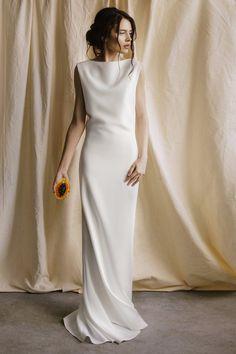 8fd6c05e29f6 Minimalist wedding dress boho simple modern gown beach white elegant long  dress with long train and open v neck back dress bridal separates