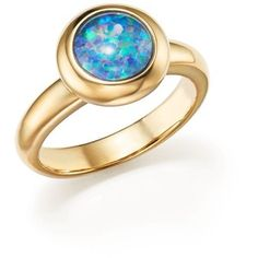 Opal Triplet Bezel Set Ring in 14K Yellow Gold - 100% Exclusive