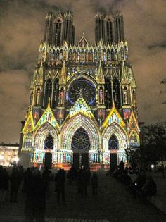 Reims, France: evening light show Carnegie Library, Barcelona Cathedral, Trip Advisor, Tourism, France, Vacation, Turismo, Vacations, Holidays Music