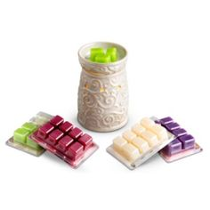Enjoy hours of inviting fragrance with the Essenza® Wax Warmer Set. Made of ceramic, the lovely wax warmer is an elegant cream color with a scroll design.