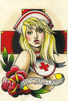 No Mans Land by Brian Kelly Topless Nude Nurse Tattoo Canvas Art Print – moodswingsonthenet Pin Up Girl Tattoo, Pin Up Tattoos, Girl Tattoos, Heart Tattoos, Tatoos, Hip Hop, Tattoo Banner, Tattoo Flash Sheet, Traditional Tattoo Design