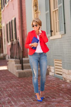 Blogger Seersucker + Saddles dresses down a Gap blazer with jeans.