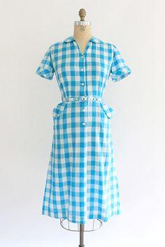 vintage 1950s buffalo plaid dress Hattie Leeds day dress