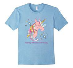 Men's Pink Unicorn Happy Magical Birthday Shirt Girls Boy...