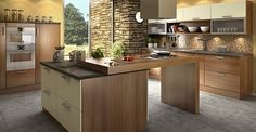 Modern Kitchens In Wooden Finish - 1 via natural home design Kitchen Island, Kitchen Cabinets, House Extensions, Kitchen Remodel, Kitchen Design, House Design, Table, Furniture, Trendy