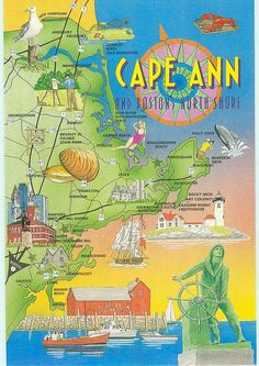 Colorfully Illustrated Map Cape Ann, MA