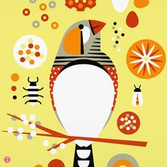 just like a real zebra finch, this print is fun and cheerful and happy. also, we wanted an excuse to draw a few little bugs.    zebra finch is a