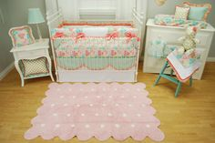 Pink floral crib bedding set with mint and coral by Pine Creek Bedding #lorenacanalsrugs #babys_dream_furniture dresser #bratt_decor metal crib