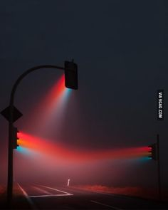 Time lapse of traffic lights in the fog