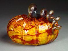 Hand Blown Glass Pumpkin by dunnikerdesigns