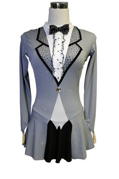 http://sk8gr8designs.com Grey, black and white tuxedo figure skating dress by…