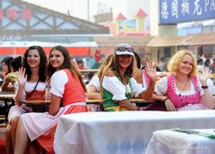 Tourists enjoy themselves at the 21st International Beer Festival ...