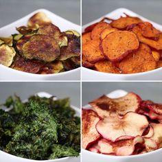 Baked Fruit & Veggie Chips 4 Ways cooking healthy with kids clean eating Vegetable Recipes, Vegetarian Recipes, Snack Recipes, Cooking Recipes, Recipes Dinner, Baked Vegetable Chips, Vegtable Chips, Veggie Bake, Vegetable Snacks