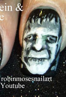 "Nail-art by Robin Moses: ""scary movie nails ""frankenstein nail art"" ""bride of frankenstein nails"" ""black and white movie nails"" ""frankenstei..."