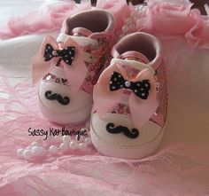 Mustache baby shoespink by Sassykatboutique on Etsy, $18.50
