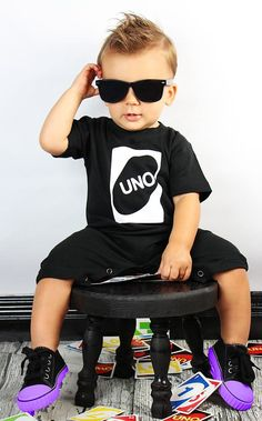UNO Birthday Romper - Black and White - Perfect First Birthday Romper for boys and girls