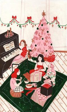 Fashion Illustration Patterns Christmas Illustration by Josefina Schargorodsky - Pink Christmas, Vintage Christmas, Christmas Time, Merry Christmas, Art And Illustration, Christmas Illustration Design, Guache, Poster S, Merry And Bright