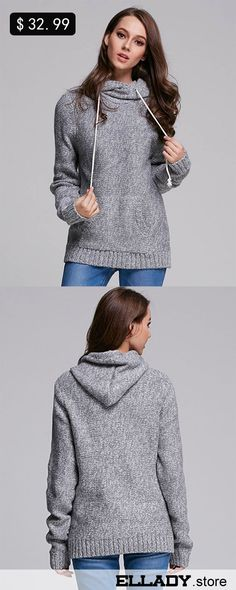 How about a hoodie sweater for winter? We're absolutely confident that you need this casual sweater in this season! Meet more style at www.ellady.store