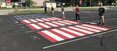 Lebanon High School military recruits paint patriotic parking spots - Local News - 13 WTHR Indianapolis High School Graduation, High School Seniors, Graduation Hats, Senior Boys, Senior Year, Parking Spot Painting, Parking Space, Parking Lot, School Painting