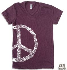 Womens Vintage PEACE t-shirt, American Apparel by ZenThreads, $18.00, Heather Plum in size L