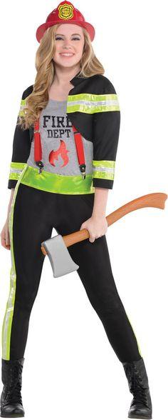teen girls red hot firefighter costume party city - Girls Football Halloween Costume